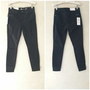 7 For All Mankind Gwenevere Black Jeans Destroy